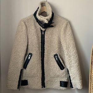 Zara Faux Shearling Moto Jacket Size XS